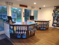 Blue Pearl granite checkout counter for Gallagher Pools